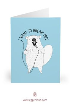 Beaver singing Queen. Semi-glossy finish of these greeting cards adds a beautiful shine while the matching white envelopes create a complete package. This greeting card is from Animal Karaoke collection.