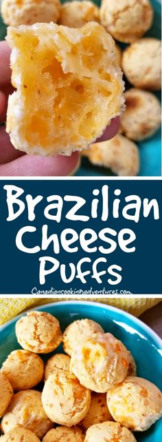 Brazilian Cheese Puffs #Brazilian #Cheese #Puffs #bread #cheddar #parmesan #cheddar #tapioca