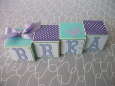 Baby Name Blocks - Aqua Purple