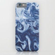 Yutaka - spilled ink marbled paper marbling swirl india ink minimal modern blue indigo pattern iPhone 6 Slim…