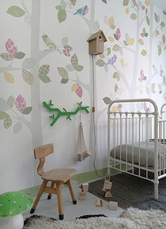 Stunning Nursery Woodland Wallpaper with Little Birds designed by INKE - available in 4 fabulous colourways to suits all children's decor Baby Room Decor, Nursery Decor, Bedroom Decor, Wallpaper Decor, Kids Wallpaper, Deco Design, Brainstorm, Beautiful Bedrooms, Kids Decor