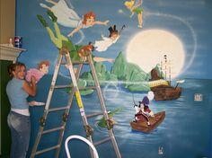 peter pan wall mural our neverland wallpaper cor decal Nursery Wall Murals, Bedroom Murals, Nursery Themes, Nursery Ideas, Peter Pan Bedroom, Peter Pan Nursery, Mural Art, Wall Art, Playroom Decor