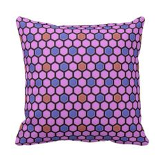 Polished beehive pattern pink and blue throw pillows