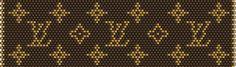 Louis Vuitton via seed beads Crochet Beaded Bracelets, Bead Crochet Rope, Bead Loom Bracelets, Beaded Bracelet Patterns, Peyote Stitch Patterns, Bead Loom Patterns, Beading Patterns, Puzzle Piece Crafts, Diy Crochet Projects