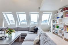 You'll be surprised after seeing apartment design in Stockholm with stunning white decor, attic renovation into apartments in very functional for place to live Attic Living Rooms, Attic Spaces, Living Spaces, Living Area, Cozy Living, Simple Living, Modern Living, Attic Renovation, Attic Remodel