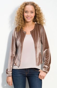 Frenchi® Velour Jacket (Juniors) | Nordstrom - StyleSays