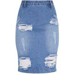 Carlyann Light Wash Super Distress High Waisted Denim Midi Skirt ($40) ❤ liked on Polyvore featuring skirts, calf length denim skirts, mid calf denim skirt, high-waisted skirts, high-waist skirt and blue midi skirt