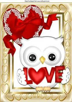 Cute white love owl with red lace heart A4 on Craftsuprint - Add To Basket!