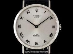 Rolex White Gold Silver Roman Dial Cellini Gents Wristwatch B&P Rolex Cellini, Vintage Rolex, Breitling, Roman, Clock, White Gold, Watches, Silver, Jewelry