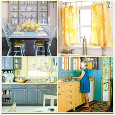 Blue and Yellow Kitchens and Dining Rooms