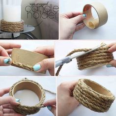 DIY Easy Rope Wrapped Candle Holder  More at Vintage & D.I.Y ideas  What do you need: Painter's tape cardboard core - or any tape core really Jute rope - or any thick rope of preference Twine Paper tape -or anything you want to use to cover the inner part of the tube Hot glue Scissors