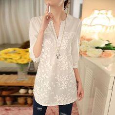 2016 Novo Verão Coreano Mulheres Blusa Flor Impressão Blusa Com Decote Em V Organza Bordada Camisa Branca Blusa de Renda Top Plus Size 566F 25