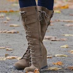 Casual Lace-Up Wedge Knee High Boots for Autumn