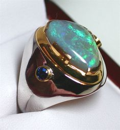 Spectacular Gondwanaland Opal and Sapphire Men's Ring from gondwanalandopals on Ruby Lane