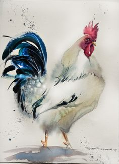 rooster № 10 watercolor on paper 28*38 sm by Olga Flerova