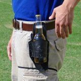Black Leather Beer Holster [with a hidden back-side suede pocket for all your cash]