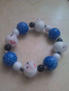 Old Man Christmas Blue and White Lampwork Beads Bracelet @Pamela Goodwin - Jewelry on ArtFire