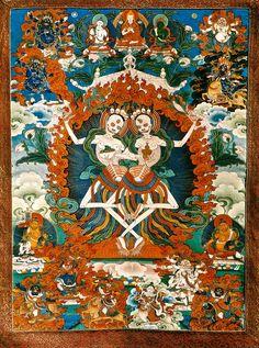 Kinkara,Citipati,Tibetan Thanka, Skeleton Lords of the Cemetery.
