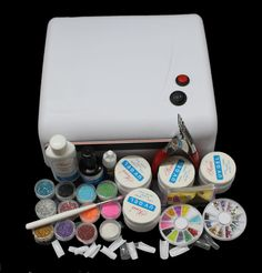 EM-122free shipping 36W White UV Lamp Gel Polish Curing Dryer Light Acrylic UV Nail Art Kit Set