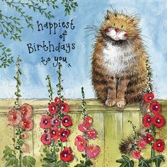Happy Birthday Art, Happy Birthday Messages, Cat Birthday, Happy Birthday Greetings, Birthday Pictures, Happy Birthday Cat Images, Birthday Blessings, Birthday Wishes Cards, Art Carte