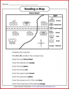 teach basic map skills with this printable map activity students will learn how to read a map legend or key follow directions and recognize north south