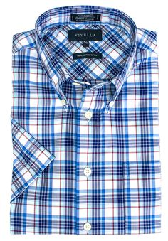 Men's fashions at The Abbey Button-Down Colla... Check it out here http://theabbeycollection.ca/products/button-down-collar-short-sleeve-no-iron-plaid-sport-shirt-by-viyella-2?utm_campaign=social_autopilot&utm_source=pin&utm_medium=pin