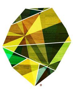 Emerald, (Geometric Facet) 8X10 Art Print. $20