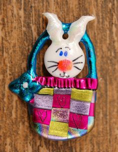 From: JustPlainJane.etsy.com Easter Bunny pin in a basket Whimsical Wearable Art spring holiday child friendly plastic