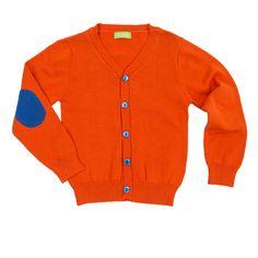 """Lily Balou - Cardigan """"Jacob"""" orange. Een gebreide cardigan voor de jongens van het Belgische Lily Balou. De cardigan heeft leuke kleuraccenten op de mouwen"""