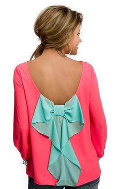 Karlie® Womens Neon Coral with Turquoise Bow 3/4 Sleeve Blouse Fashion Top | Cavenders Boot City Cavenders Boots, Ariana Grande Outfits, Fashion Top, Other Outfits, Country Outfits, Blouse Styles, Shirt Style, School Outfits, Autumn Winter Fashion
