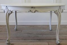 Antique Walnut Carved Dining Table with Extension Leaves from Full Bloom Cottage