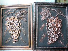 Copper buttons make these beautiful grapes. If you do not have copper buttons, you can spray paint your old buttons to look like this!