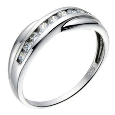9ct white gold cubic zirconia cross over eternity ring- H. Samuel the Jeweller
