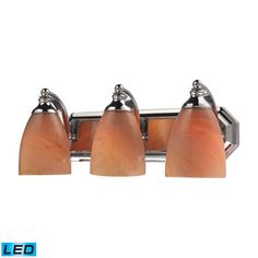 Bath And Spa 3 Light LED Vanity In Polished Chrome And Sandy Glass 570-3C-SY-LED