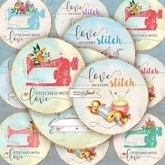 Stitched With Love  2.5 inch circles  set of 12  by bydigitalpaper