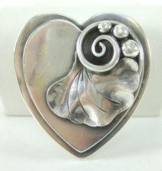 Georg Jensen Sterling Silver Hand Wrought Heart Brooch w/ 3D Lily Pad