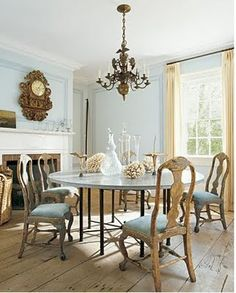 ** dining room- Home Design with Kevin Sharkey Round Dining Table, Dining Area, Kitchen Dining, Dining Rooms, Dining Chairs, Swedish Decor, Swedish Style, Swedish Design, Martha Stewart Home
