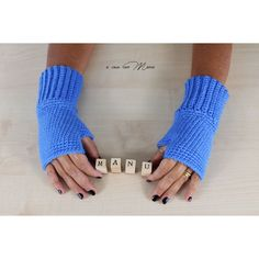 Wool women's gloves, crochet fingerless gloves, blue gloves, crochet... (€10) ❤ liked on Polyvore featuring accessories and gloves