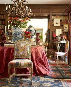 Chinoiserie in Blue and White amongst beautiful French Interior.