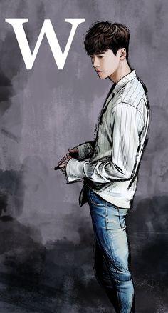 "Dorama ""W - two worlds"", Kang Chul, art Jong Suk & Han Hyo Joo W Two Worlds Art, Between Two Worlds, Lee Jong Suk Cute, Lee Jung Suk, W Kdrama, Kdrama Actors, Lee Joon, W Two Worlds Wallpaper, W Korean Drama"
