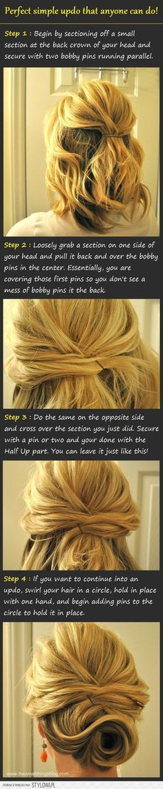 simple bun for medium lenth hair