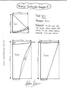Esquema de modelagem de Biquini Cortininha tamanho M.