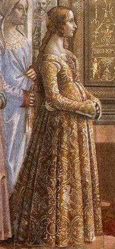 Ludovica Tournabuoni in Domenico Ghirlandaio's Birth of the Virgin from the 1480s