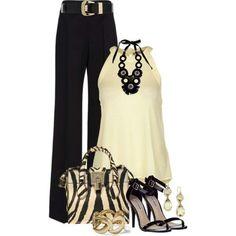 black wide leg slacks + white tank + heels