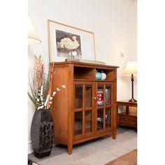 Norfolk Honey Brown Medium Storage Media Cabinet & Buffet | Overstock.com Shopping - Great Deals on WyndenHall Media/Bookshelves