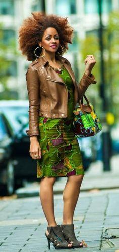 Leather jacket over Kente Cloth Goal Fro La Rose Book III Le Baton Chronicles amazon.com/author/claudiaross