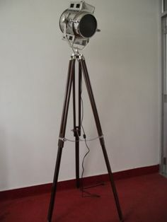 Hollywood Wooden Tripod Searchlight Spot Light Floor Lamp with Brown Wood Tripod | eBay