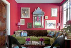 Love the colors, the velvet - Miles Redd Colorful Interiors - House Beautiful