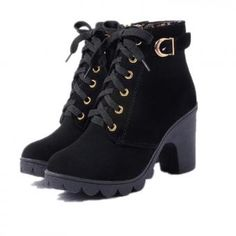 Mcckle Ankle Boots Platform High Heels Buckle Shoes on Platform High Heels, High Heel Boots, Heeled Boots, Women's Boots, Black Boots, Boot Heels, Buy Boots, Platform Ankle Boots, Black Heels