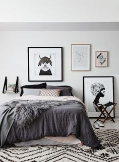 white, black & grey bedroom